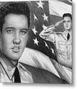 Elvis Patriot Bw Signed Metal Print by Andrew Read