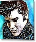 Elvis Presley Never Left The Building Alcohol Inks Metal Print