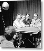 Elvis Presley Photographed With Fans 1956 Metal Print
