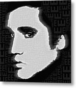 Elvis Presley Silhouette On Black Metal Print
