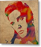 Elvis Presley Watercolor Portrait On Worn Distressed Canvas Metal Print