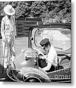 Elvis Presley With His Messerschmitt Micro Car 1956 Metal Print