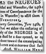 Emancipation Notice, 1775 Metal Print