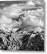 Embraced By Clouds Black And White Metal Print