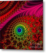 Embroidered Silk And Beaded Square Metal Print
