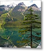 Emerald Lake Reflection And Pine Tree In Yoho National Park-british Columbia-canada Metal Print