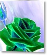 Emerald Rose Watercolor Metal Print