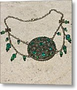 Emerald Vintage New England Glass Works Brooch Necklace 3632 Metal Print