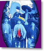 Emiliano Zapata In Group Portrait Xochimilco  Outside Of Mexico City 1914-2013 Metal Print