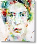 Emily Dickinson - Watercolor Portrait Metal Print