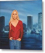 Emily  Miami Skyline Metal Print