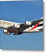 Emirates Airbus A380-861 A6-eeo Los Angeles International Airport January 19 2015 Metal Print