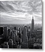 Empire State Building And Midtown Manhattan Black And White Metal Print