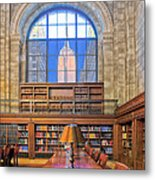 Empire State Building At The New York Public Library Metal Print