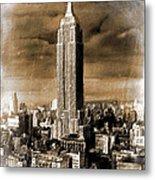 Empire State Building Blimp Docking Sepia Metal Print