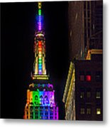 Empire State Building Lit For Gay Pride Metal Print