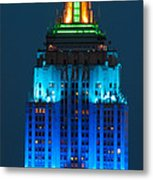 Empire State Building Lit Up At Night Metal Print