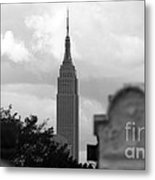 Empire State Building Seen From Calvary Cemetery In Queens Metal Print