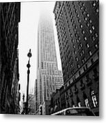Empire State Building Shrouded In Mist And Nyc Bus Taken From 34th And Broadway Nyc New York City Metal Print