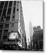 Empire State Building Shrouded In Mist As Pedestrians Crossing Crosswalk On 7th Ave New York Metal Print