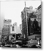 empire state building shrouded in mist from west 34th Street and 7th Avenue King Kong movie poster Metal Print