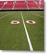 Empty American Football Stadium 50 Yard Line Metal Print