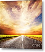 Empty Asphalt Road. Sunset Sky Metal Print