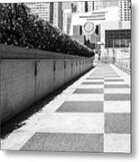 Empty Footpath Leading Towards Buildings On Sunny Day Metal Print