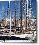 Empty Masts In Vieux Port Metal Print by John Rizzuto