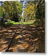Empty Railroad Tracks Metal Print