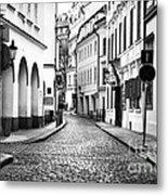 Empty Street In Prague Metal Print