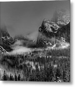 Enchanted Valley In Black And White Metal Print