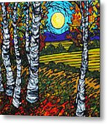 End Of Summer Birches Metal Print