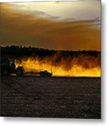 End Of The Day In The Field Metal Print