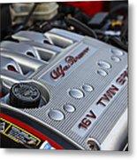 engine cover on an Alfa Romeo twin spark engine in a 156 Metal Print by Joe Fox