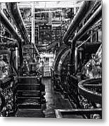 Engine Room Queen Mary 02 Bw 01 Metal Print