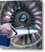 Engineer Using Digital Tablet In Front Metal Print
