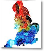 England - Map Of England By Sharon Cummings Metal Print
