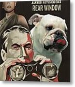 English Bulldog Art Canvas Print - Rear Window Movie Poster Metal Print