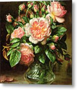 English Elegance Roses In A Glass Metal Print