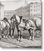 English Farm Horses, 1823 Metal Print