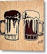Enjoying Beer Metal Print