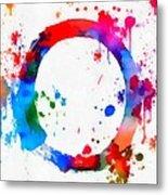 Enso Circle Paint Splatter Metal Print