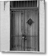 Enter In Black And White Metal Print