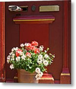 Entrance Door With Flowers Metal Print