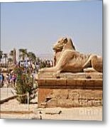Entrance Sculpture By The Temple Of Karnak Metal Print