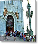 Entrance To Christ The Savior Cathedral In Moscow-russia Metal Print