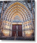 Entrance To The Barcelona Cathedral At Night Metal Print