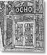 Entrance To Trendy Ocho Restaurant In San Antonio Texas Black And White Digital Art Metal Print