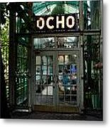 Entrance To Trendy Ocho Restaurant In San Antonio Texas Watercolor Digital Art Metal Print